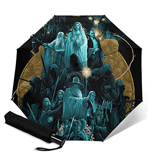 Lord Rings Paraguas automático portátil de tres pliegues, cortavientos, impermeable, antirrayos UV, apertura automática/cerrada, compacta y portátil plegable paraguas