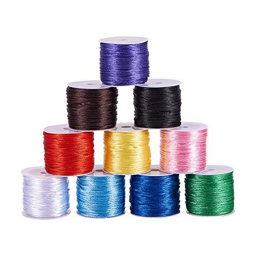 PandaHall Cordón de seda de nailon satinado de 10 colores de 1,5 mm para pulsera de la amistad, collar trenzado, nudo chino, macramé, guarnición, fabricación de joyas, alrededor de 137 yardas en total