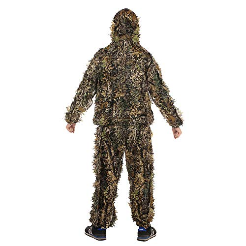 ZJJ Outdoor 3D lässt Ghillie Kleidung, Jagdanzug für Erwachsene Tarnung Poncho Camo Cape Umhang Stealth Military CS Woodland oder Halloween