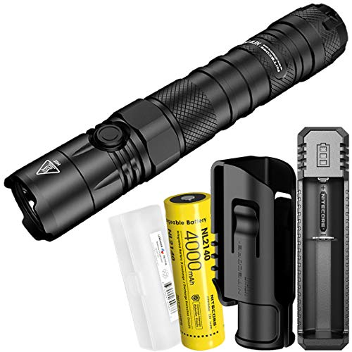 NITECORE NEW P12 1200 Lumen Tactical Flashlight with Rechargeable Battery, NTH10 Holster, UI1 Battery Charger, and LumenTac Battery Organizer