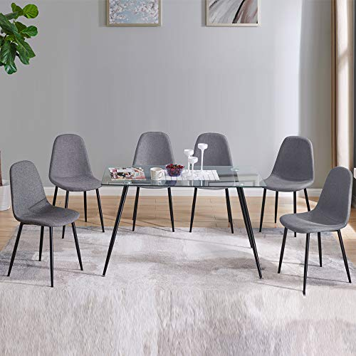 IDS Home Contemporary Transparent Glass Dining Table Furniture Set for 4/6, Upholstered Fabric Chairs with Metal Leg (7 Pieces Set, Grey)