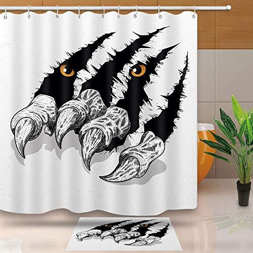 JoneAJ Halloween Paw Duschvorhang Sharp Paws Fleece wasserdicht Badezimmer Dekorationsset mit Haken 71x71 Zoll Stoff Bad Vorhang Set mit 40x60cm Bad Anti-Rutsch-Teppich