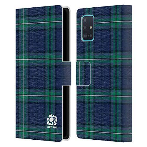 Head Case Designs Licenciado Oficialmente Scotland Rugby tartanes Logotipo 2 Carcasa de Cuero Tipo Libro Compatible con Samsung Galaxy A51 (2019)