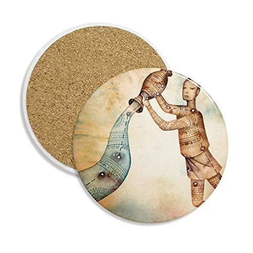 Januar Februar Wassermann Constellation Sternzeichen Keramik Untersetzer Tasse Halter saugfähig Stein für Getränke 2Geschenk