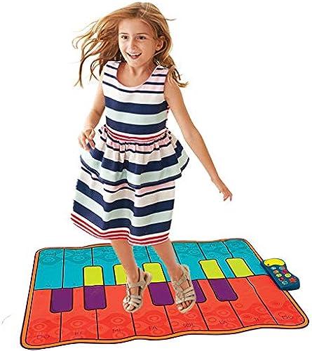 Klaviermatte für Kinder 54 zoll 16 tasten batteriebetriebene faltbare boden musiktastatur playmat tastatur klaviertanz aktivit matte mit einstellbarer vol schritt und spielinstrument spielzeug für k