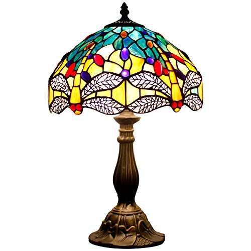 Tiffany Lamp Blue Dragonfly 18 Inch Tall For Table and Bedside Desk Lamp Night Light
