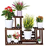 FOLDIFY Pine Wood Plant Stand Indoor Outdoor Multiple Flower Pot Holder Shelf Rack Higher and Lower Planter Display Shelving Unit in Garden Balcony Patio Corner Living Room(7-9 Flowerpots)