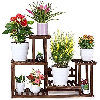 FOLDIFY Pine Wood Plant Stand Indoor Outdoor Multiple Flower Pot Holder Shelf Rack Higher and Lower Planter Display Shelving Unit in Garden Balcony Patio Corner Living Room 7-9 Flowerpots