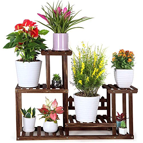 FOLDIFY Pine Wood Plant Stand Indoor Outdoor Multiple Flower Pot Holder Shelf Rack Higher and Lower...