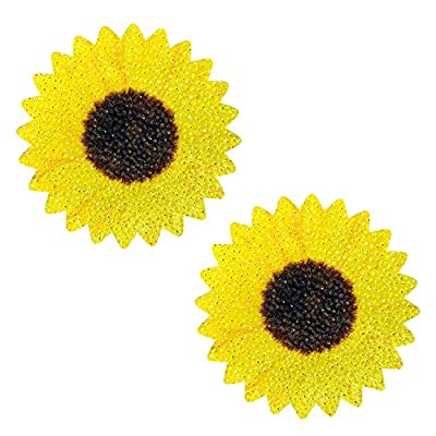 Freaking Awesome Seductive Sunflower Glitter Velvet Nipztix Pasties Nipple Covers for Festivals, Raves, Parties, Lingerie and More, Medical Grade Adhesive, Waterproof and Sweatproof, Made in USA