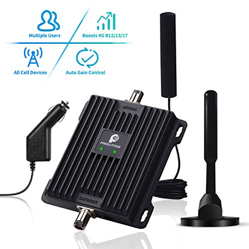 Cell Phone Signal Booster for Car, Truck and RV - Band 12/13/17 Mobile Cellular Repeater Boosts 4G LTE Data & Volte(Voice Over 4G) Signal Amplifier for Verizon AT&T in Vehicle