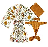 Lightweight Robe for Mommy and Matchng Baby Set- Maternity Robes for Hospital with Matching Baby Set (Mommy Robe +Swaddle+Baby Gown+Headband, M)