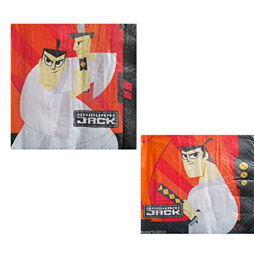 Samurai Jack Cartoon Network Character Napkins Bundle: Total 2 Items - One Dinner/Lunch 6 1/2' x 6 1/2' 16 Count Pack and One Cocktail/Snack 5' x 5' 16 Count Pack