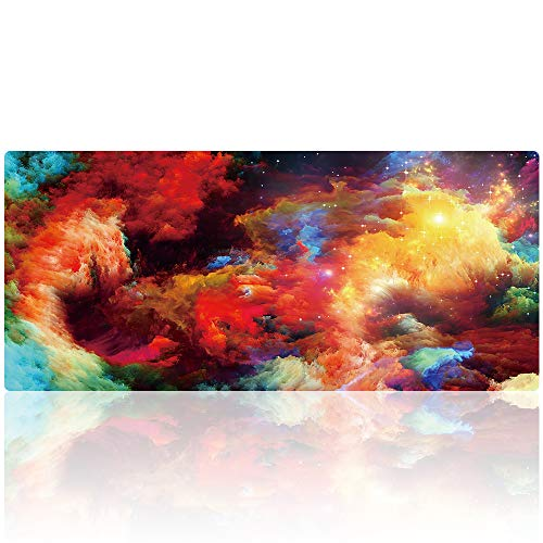 Yucoon Large Gaming Mouse Pad 35.4 x 15.7 Inch Non-Slip Rubber Base Stitching Edge Desk Pad for Gaming or Office Work (90x40 Clouds014)