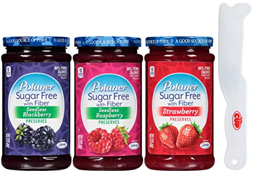 Polaner Sugar Free Preserves Sweetened with Sucralose 13.5 Ounce Variety, Blackberry, Raspberry, Strawberry with By The Cup Spreader