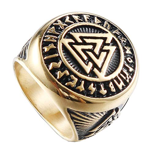 HIJONES Valknut Nórdico Vikingo Odin Anillo de Símbolo para Hombre Acero Inoxidable Guerrero Motorista Oro Tamaño 22