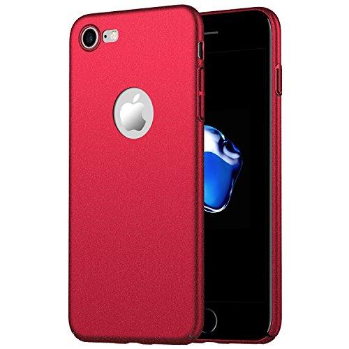 Homikon Etui en PC Matière Coque de Protection Plastique Housse Protecteur Bumper Ultra Slim Souple Dur Rigide Etui Résistant Étui Hard Case Cover Couverture pour Apple iPhone 8 - Rouge Sable