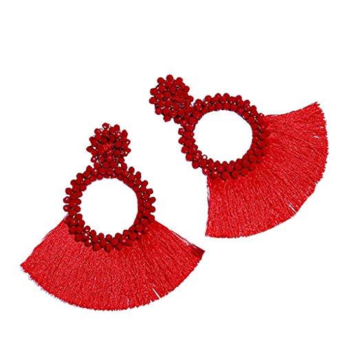 Fenverk Damen Twist Schmuck Set Ohrringe Halskette Silber Haken Ohrhänger Ohrring Allergiefrei Hochzeit Verlobung Partz Schmuck Passt Abendkleid(rot)