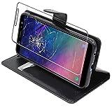 ebestStar - kompatibel mit Samsung Galaxy A6 2018 Hülle SM-A600F Wallet Hülle Handyhülle [PU Leder], Kartenfächern Standfunktion, Schwarz +Panzerglas Schutzfolie [Phone: 149.9x70.8x7.7mm 5.6