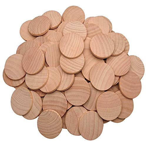 AxeSickle 1.5 Inch Natural Wood Slices Unfinished Round Wood Coins for DIY Arts & Crafts Projects, 50 per Pack.