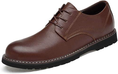 2018 Hommes Soft Bas Haut Haut de Gamme en Cuir Ox Chaussures Formelles pour Le Mariage Affaires Oxford Office Company Richelieus Homme (Couleur   Marron, Taille   42 EU)