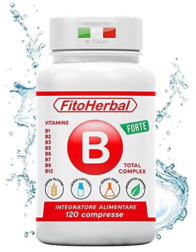 FitoHerbal Vitamina B Complex Integratore Complesso Vitamine B1 B2 B3 B5 B6 B7 B9 B12 Supporto per Stanchezza Sistema Immunitario Nervoso Memoria Capelli Occhi Pelle. Qualità Made in Italy.