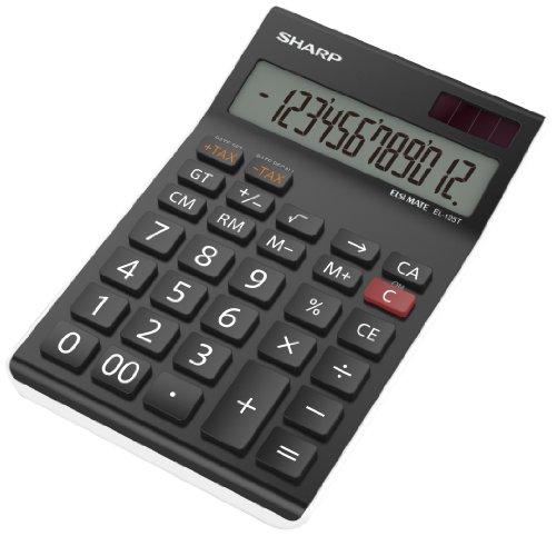 Sharp EL125TWH - Calcolatrice da scrivania, colore nero