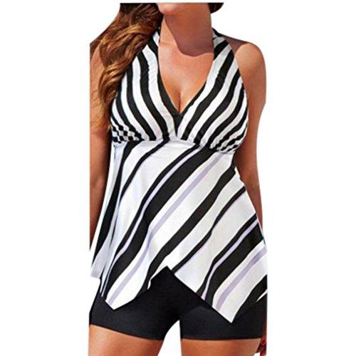 Swimsuit,Women Plus Size Bikni Set Striped Swimwear Halter Bathing Suit Swim Dress Beach Wear (Multicolor, XL)