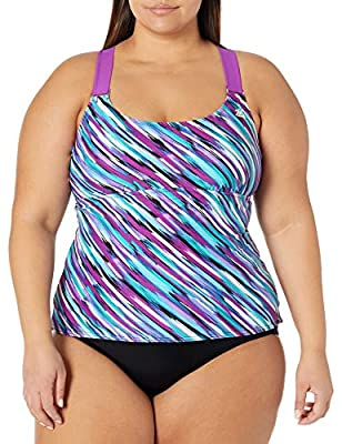 ZeroXposure Womens Wide Strap Tankini Top Sport Swimsuit Swimwear Tank Top Beet, 20W