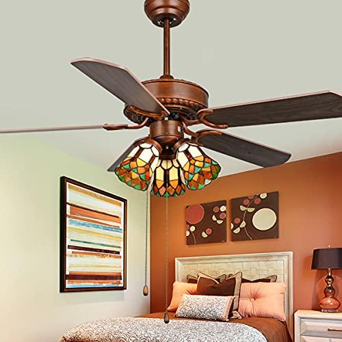 42'Ventilador de Techo de Estilo Tiffany con lámpara LED LED LED Hojas retráctiles de Control Remoto 3 velocidades 3 Cambios de luz Lámpara de Techo Iluminación,A