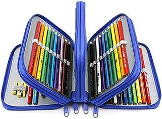 YOUSHARES 72 Slots Pencil Case - Handy Large Capacity Oxford Multi-Layer Zipper Pencil Bag for Color Pen, Colored Pencils, Watercolor Pens, Makeup Brush, Cosmetic Brushes, Gel Pen, etc (Blue)
