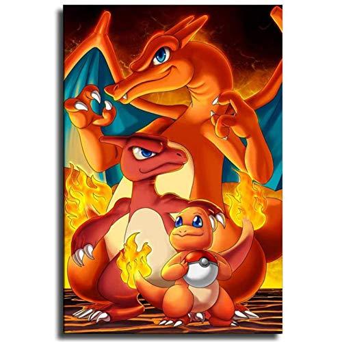 Lvminhm Charizard Mejores Pokemon Fans Art Toile Art Affiche Et Mur Art Photo Impression Moderne Famille Chambre Décor, sans Cadre,70 x 100cm