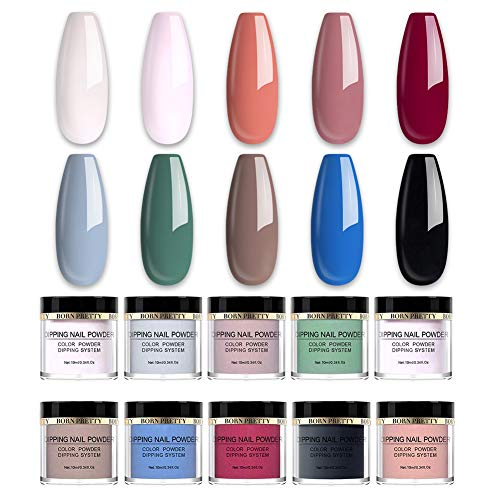 BORN PRETTY Dipping Nail Powder Acrylic Nail Art for Dipping Nail Starter French Nail Without Lamp Cure Manicuring 10 Colors