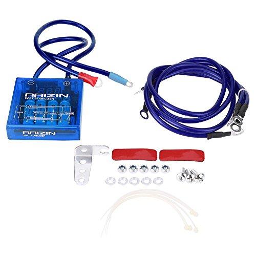 Kit de estabilizador de voltaje eléctrico universal de 12 V, ahorro de combustible, regulador de voltaje de vehículo con cables de tierra y kit de hardware de montaje para coche camión (negro)
