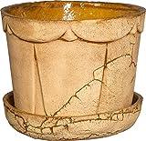 PLATINUX Steingut Blumentopf mit Untersetzer & Abflussloch 18,6x15,7cm Blumenkübel Steinoptik Braun Groß Handmade