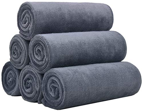 BloomSesame Microfiber Gym Towels 6 Pack 16 x 35 Inch Fitness Workout Sweat Towels Sports Towel