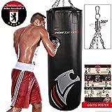 Sportstech Doppelverstärkter Kampfsport Boxsack mit 40cm Durchmesser & Innovative Fünfpunkte-Stahlke