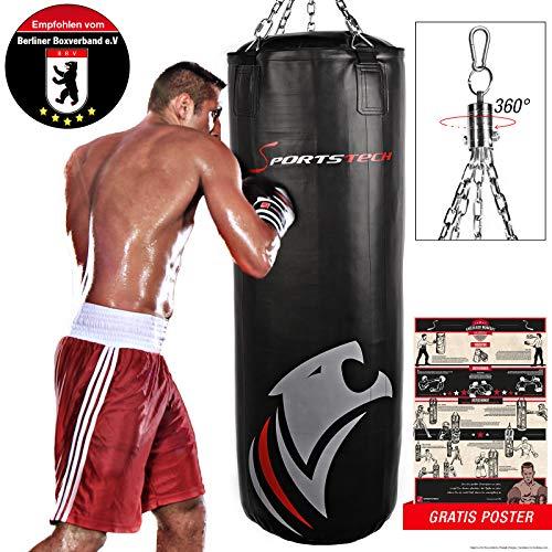 Sportstech Doppelverstärkter Kampfsport Boxsack mit 40cm Durchmesser & Innovative Fünfpunkte-Stahlke (150x40cm)