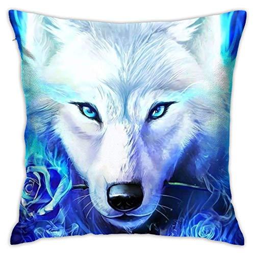AEMAPE Pinterest Blue Ice Ice Wolf - Papel Tapiz para Almohadas, Regalos, Funda de Almohada Pooh, Funda de cojín para decoración de sofá, sofá, Divertido Regalo para el Mejor Amigo, 18 x 18 Pulgadas