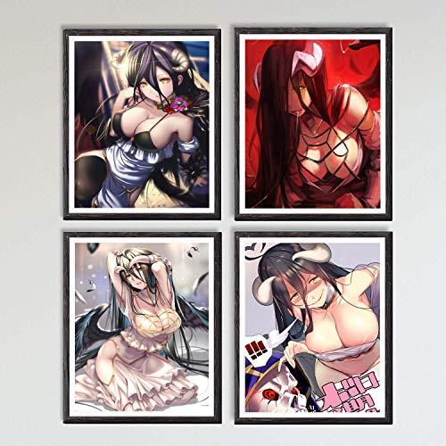 MS Fun Ecchi Anime Girl Overlord Albedo Japanese Anime Canvas Art Print,8 x 10 Inches,No Frame,Set of 4