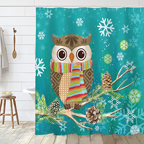 Winter Bathroom Shower Curtain with Cute Owl and Christmas Holly