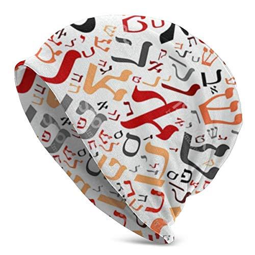 FLDONG Gorro de punto creativo con alfabeto hebreo para hombre adulto – Deliciously Soft Daily Beanie en punto fino, gorra, pasamontañas, medio pasamontañas
