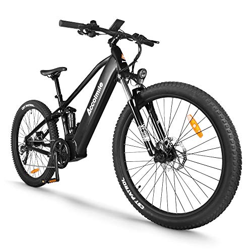Electric Bicycle 48V 750W Bafang Mid Drive Motor 27.5' Wheel 9-Speeds Derailleur Ful-Shark Absorption Mountain Ebike with 12.8Ah Battery (Black, 27.5' Wheel)