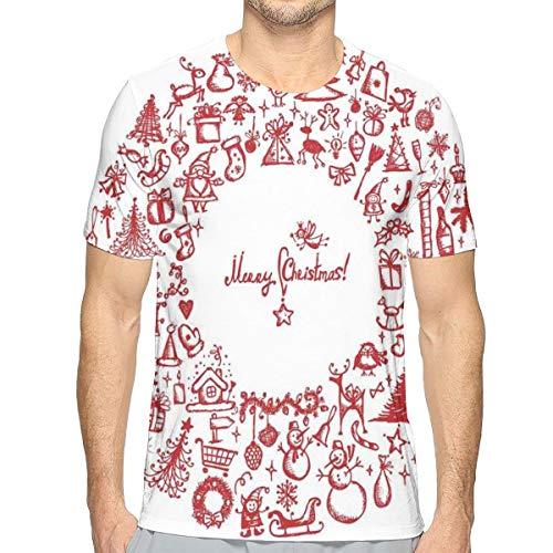 Heren 3D Printed T Shirts,Vintage Merry Xmas Krans met verschillende Noel Yule pictogrammen en linten Kaarsen Klokken Thema Afbeelding