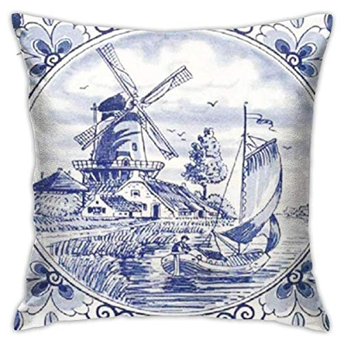 AOOEDM SXboxing Decorative Throw Pillow Covers 18x18 Inches,Christmas Square Throw Pillow Cases for Sofa Bedroom Car Nederland Cute Vintage Dutch Windmill Sailboat Delft Blue The