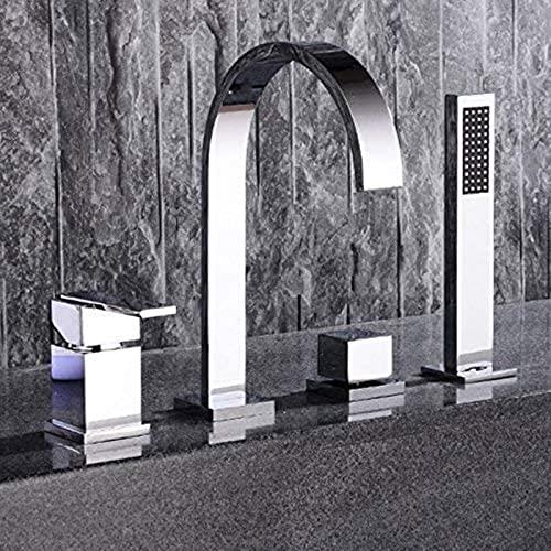 TEPET Grifo Mezclador de bañera Moderno de 4 Orificios con Cabezal de Ducha de Mano, Juego de baño Cromado