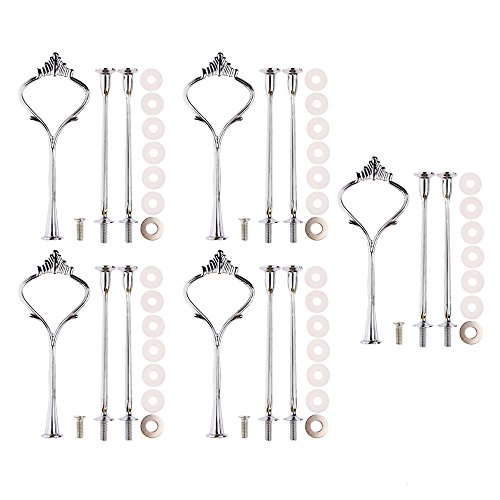 Accent Plates,Petforu 5 Sets Crown 3 Tier Cake Stand Fittings Hardware Holder for Wedding and Party - Silver