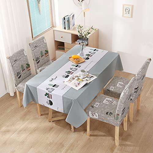 XXDD Mantel Impermeable Mantel y Cubierta de Silla Combinación Mantel de Restaurante Decoración de Cocina del hogar del Hotel A17 140x200cm