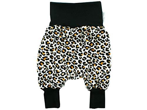 Kleine Könige Pumphose Baby Mädchen Hose · Modell Jaguar Leo Print beige, schwarz · Ökotex 100 Zertifiziert · Größe 98/104