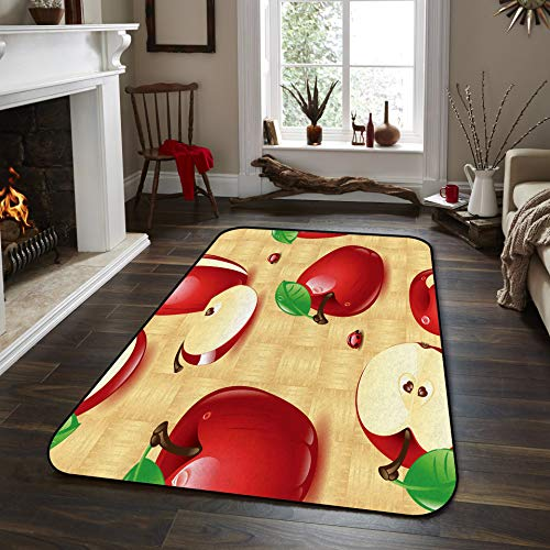 Fantasy Star Non-Slip Area Rugs Room Mat- Red Apple Home Decor Floor Carpet for High Traffic Areas Modern Rug Kitchen Mats Living Room Pads, 4' x 6'